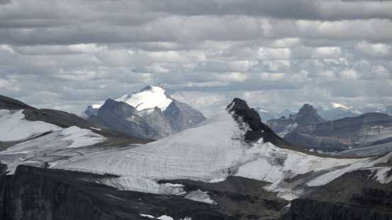 Mt. Hector rises behind a sub-peak of Marmota Peak