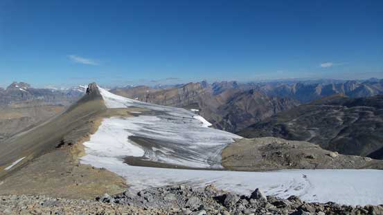 The remnant glacier on Marmota Peak
