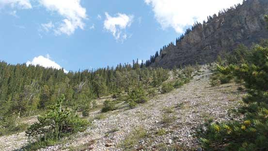 Ascending open slope towards Big Bend Peak's shoulder