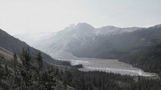 Looking back I could see the broad Saskatchewan Glacier's valley