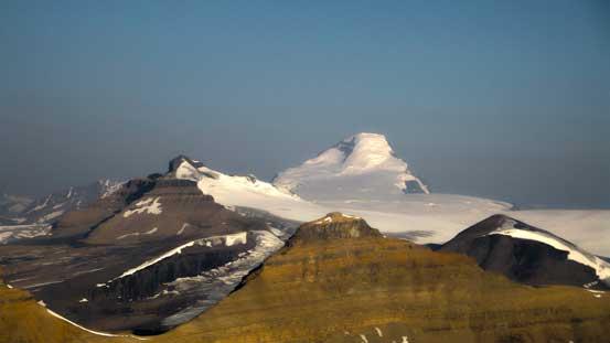 Mt. Columbia looms behind Castleguard Mountain