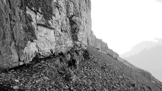Traversing beneath the second cliff band