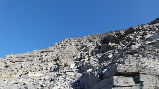 The terrain immediately above the crux - very loose