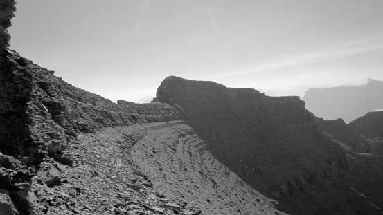 I bypassed the false summit by side-hilling on a scree bench