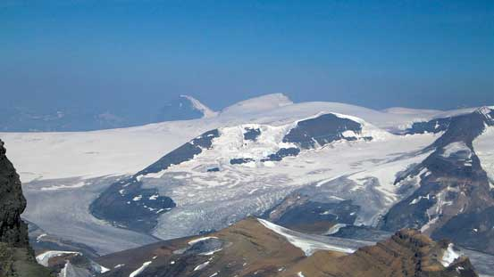 The Twins rise behind Columbia Icefield