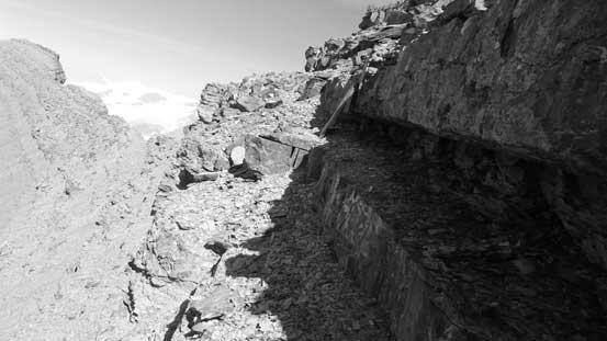 Carefully picking my way down the summit block