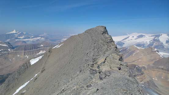 Traversing to the false summit to check out the views