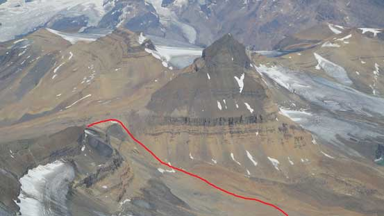 Looking down at the North Towers and the approach route