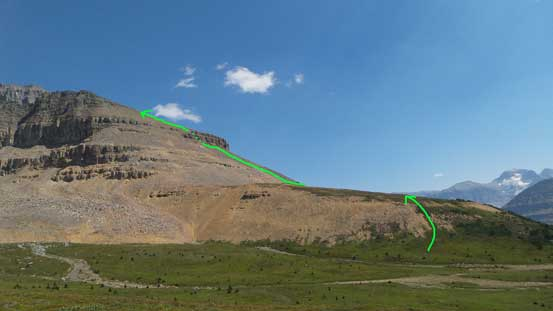 A review shot of the lower ridge and the route I took