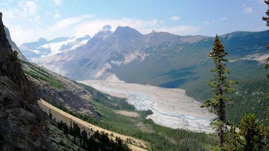 Back to Big Bend Peak's shoulder, looking at Saskatchewan Glacier's valley