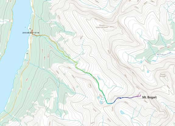 Mt. Bogart scramble route via W. Ridge