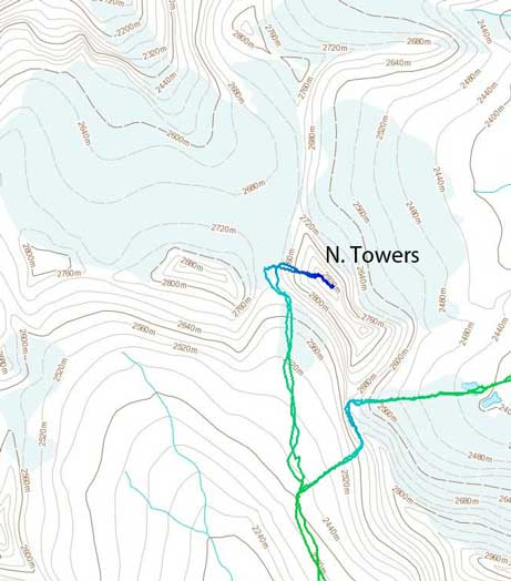 The ascent route for North Towers of Mt. Saskatchewan