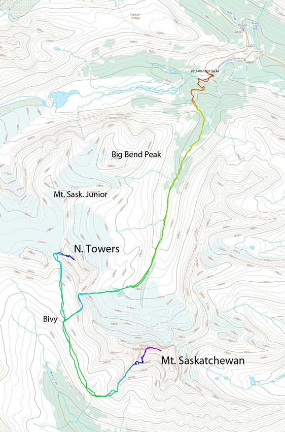 The approach and ascent route of Mt. Saskatchewan and its North Towers