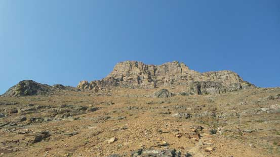 Looking ahead to the complex upper mountain