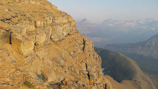 The long ledge traverse that brought me far to the climber's left