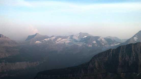 Mt. Logan (L) and Blackfoot Mountain (C)
