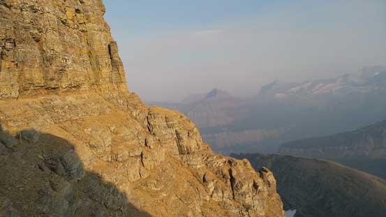 Traversing along a key ledge on the descent
