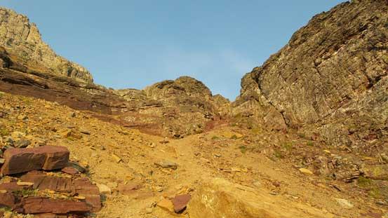 Down through the lower cliffs