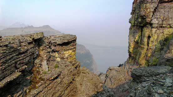 Some broken terrain along the ascending ridge