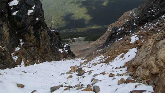 Partway up the gully, looking down