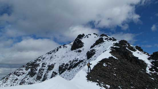 Surprisingly to see cornices already forming up along the ridge