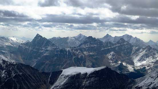 Roche Noire, Basillica and Curia, with high peaks in Trident Range poking behind