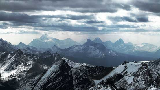Mt. Edith Cavell and peaks by Tonquin Valley