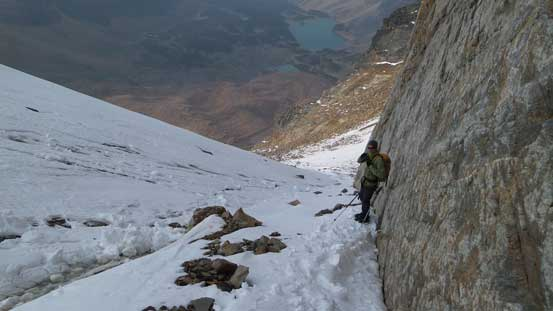 Down the sketchy stuffs now, still a bit of ice to down-climb