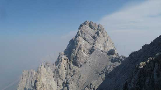 The summit block of Elpoca Tower that has 3-4 pitches of technical climbing