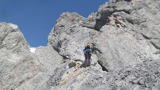 Regaining the ridge, scrambling up a difficult but short step