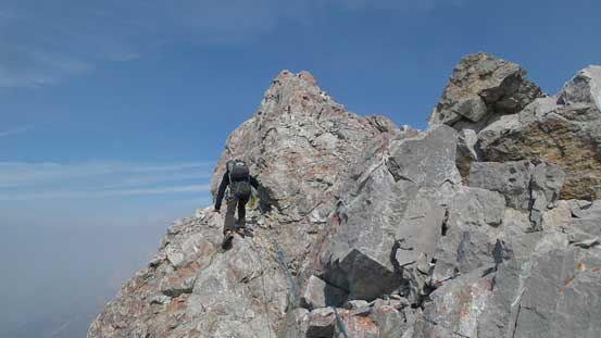 Robb leading the summit ridge pitch. (Pitch 3)