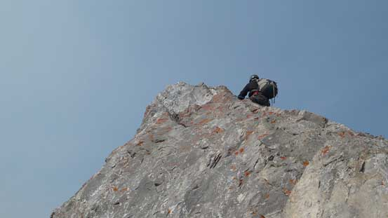 Robb leading another short pitch to the summit