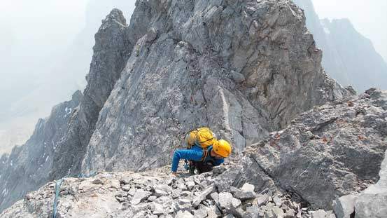 Maury opted to down-climb the summit block