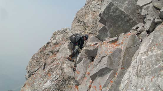 Negotiating a tricky step on the ridge traverse
