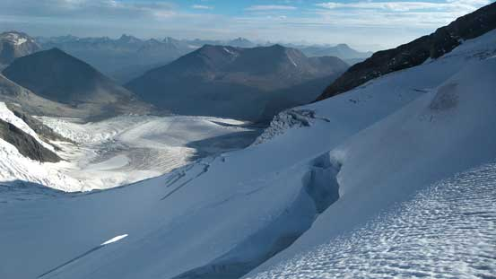 Lots of big crevasses down by the Robson Cirque