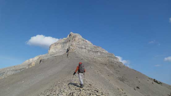 Hiking towards the base of this false peak