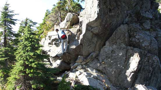 Vlad down-climbing into the notch