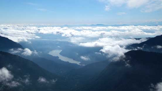 Capilano Lake and the low clouds