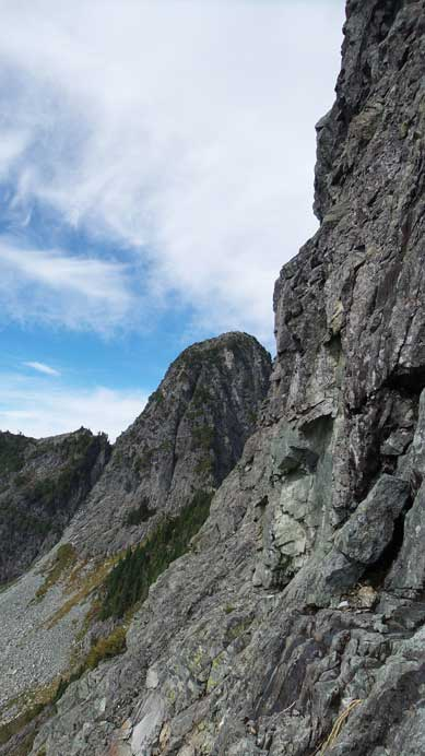This picture shows the angle of the terrain around the crux
