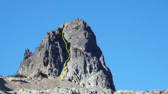 The NE Gully of The Copilot and my ascent line roughly shown