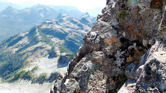 Two bolts above the upper crux