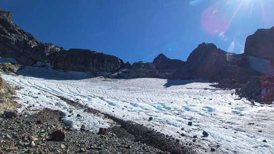 A review shot of Stadium Glacier. Route goes up climber's right beside the debris
