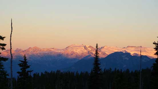 Alpenglow on peaks across the Highway