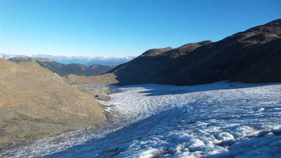 Looking down the tongue of Helm Glacier