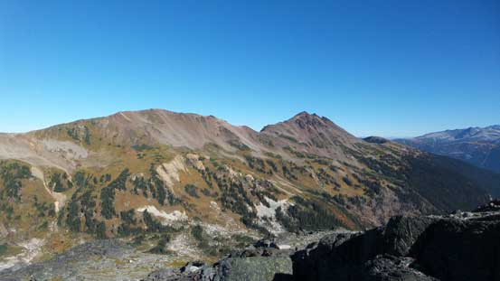 Looking towards Corrie Peak. Gentian Pass on far left