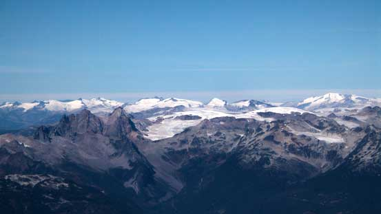 Some icefields in the distance. Tricouni/Cypress in foreground, bottom left