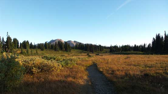 Hiking back across Black Tusk Meadows
