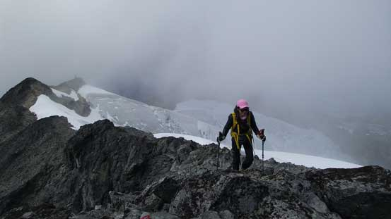 Michelle approaching the summit