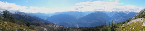 Panorama of the valley that Highway 99 travels through.