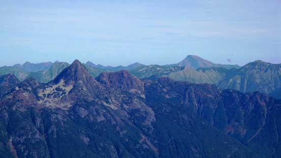 Williams Peak in foreground. The big one behind is Mt. Outram